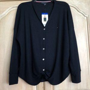 Tommy Hilfiger V Neck Tie Cardigan. New size L